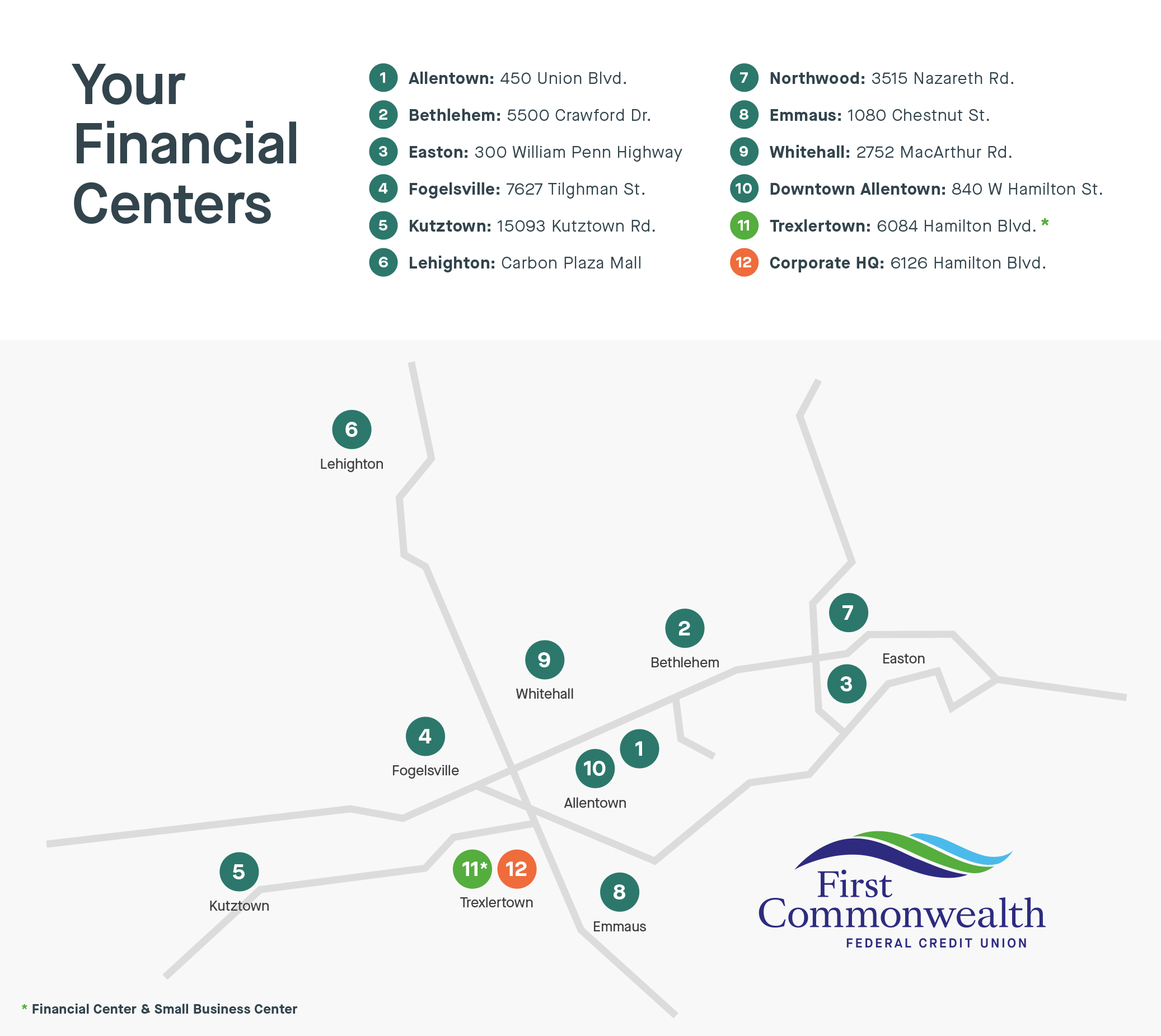 Map of First Commonwealth Federal Credit Union Financial Centers